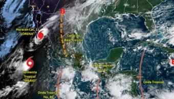 Foto: Lorena podría provocar lluvias intensas a puntuales torrenciales de 150 a 250 litros por metro cuadrado en Sonora y lluvias muy fuertes en Baja California Sur, 21 de septiembre de 2019 (Twitter @conagua_clima)