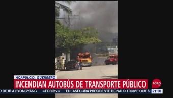 FOTO: Incendian autobús de trasporte público en Acapulco, 16 septiembre 2019