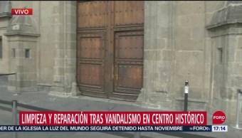 FOTO: Inicia limpieza y reparación tras vandalismo en Centro Histórico, 27 septiembre 2019