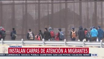 FOTO: Instalan cargas para migrantes en puente internacional, 14 septiembre 2019