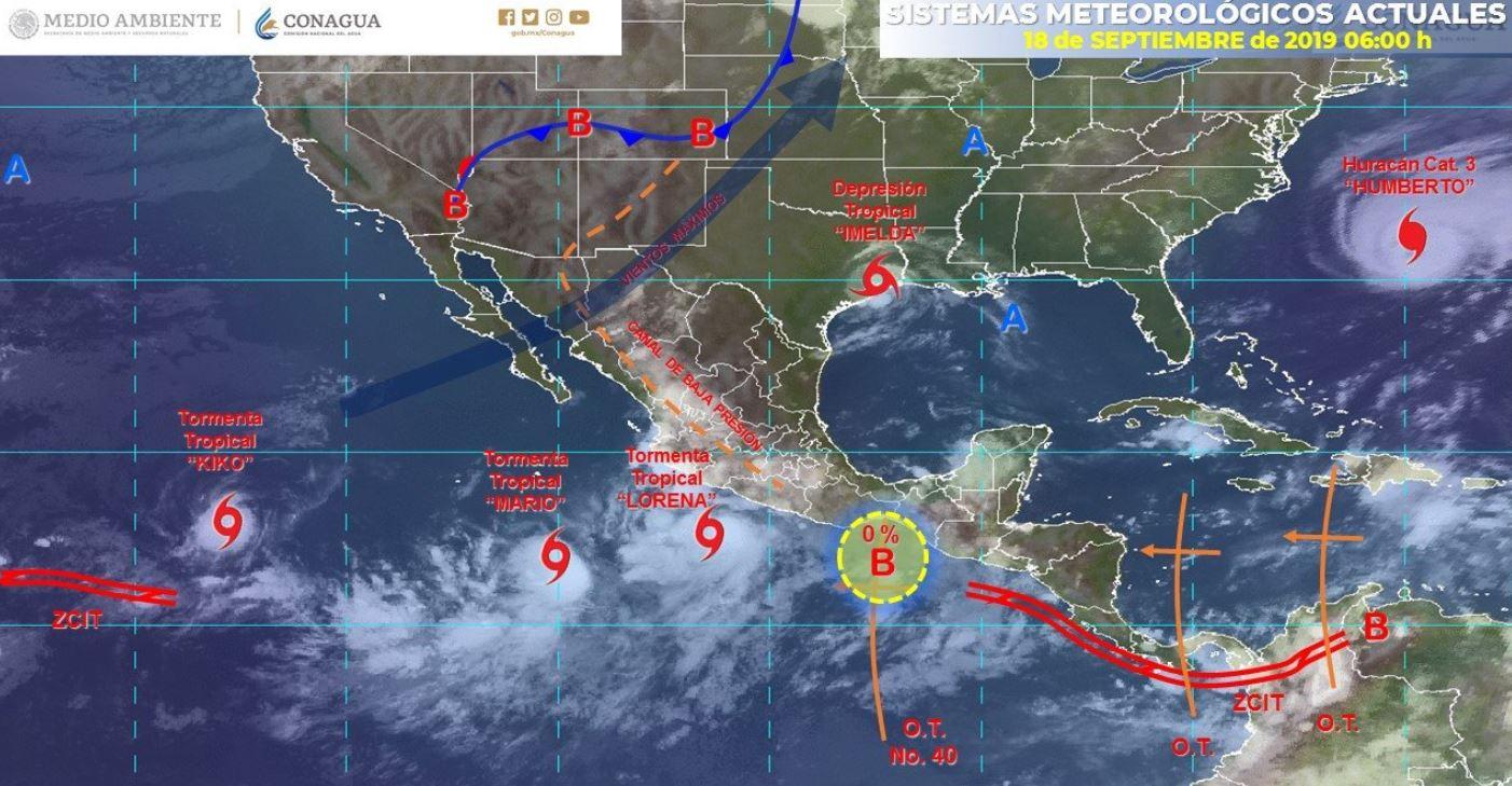 Mapa con el pronóstico del clima para este 18 de septiembre de 2019. (SMN)