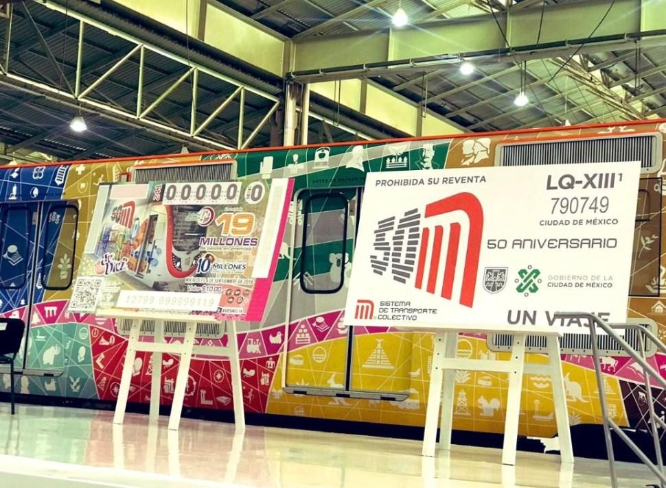 Develación del boleto conmemorativo y del billete de lotería, con motivo del 50 Aniversario del Metro, 4 septiembre 2019