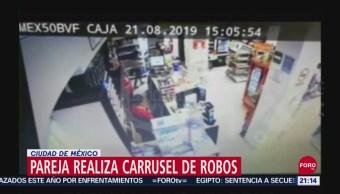 Foto: Pareja Carrusel Robos Tiendas Cdmx 25 Septiembre 2019