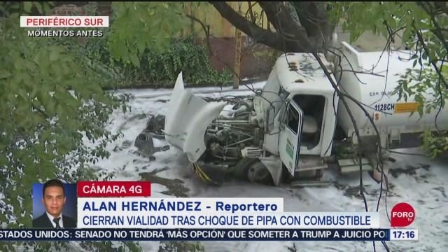 FOTO: Pipa Pemex Choca Contra Árbol Periférico Sur