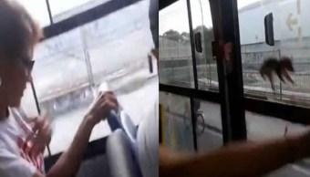 Foto Video: Ratón que viaja en microbús salta sobre pasajera 5 septiembre 2019