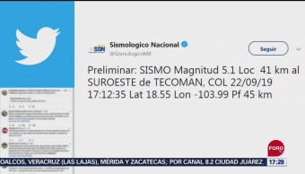 Se registra sismo magnitud 5.1 en Colima