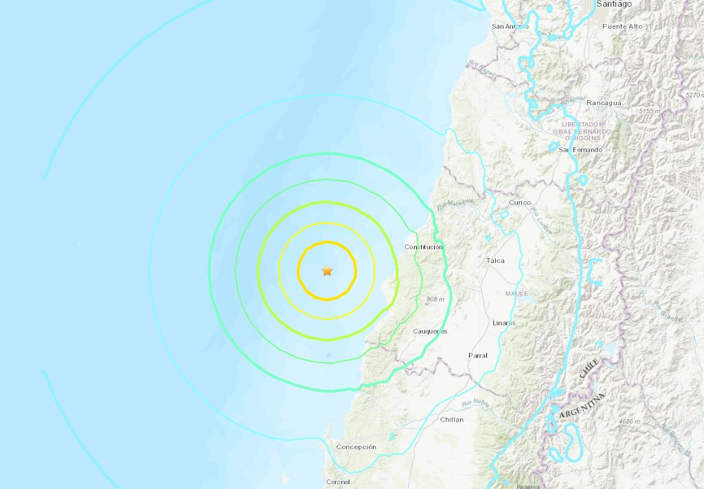 Foto: Este domingo se registró fuerte sismo en Chile, 29 de septiembre de 2019 (USGS)