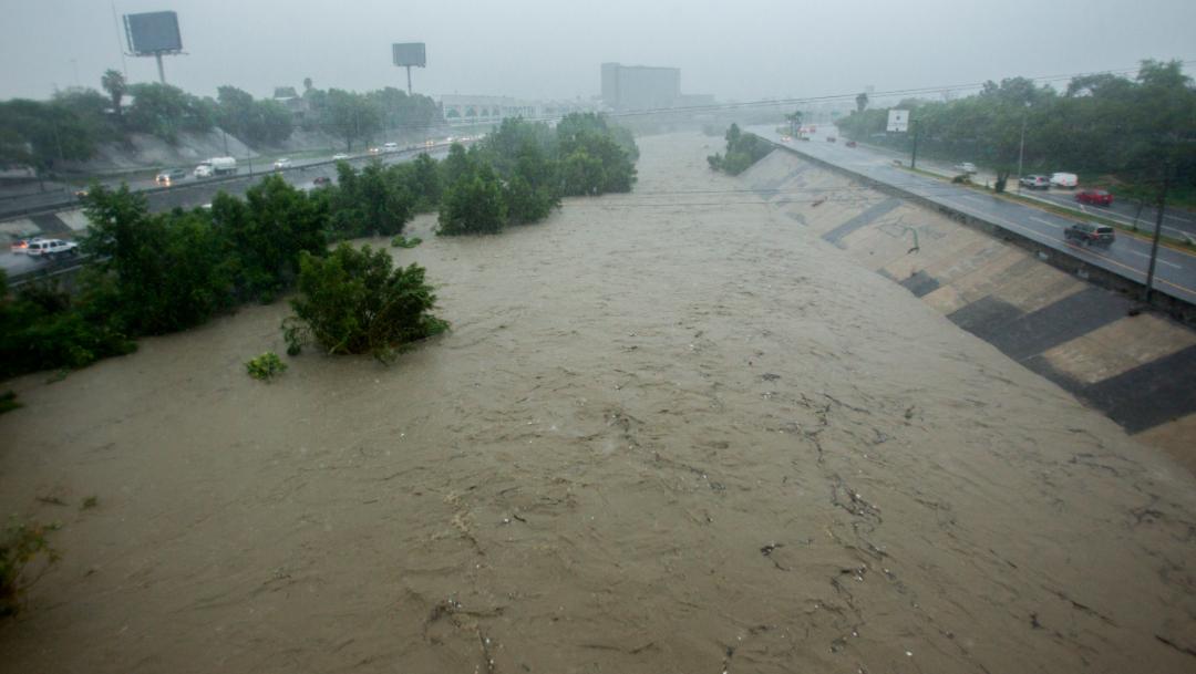 """Foto: La tormenta tropical """"Fernand"""" entró a el estado de Nuevo León, causando intensas lluvias y crecidas en arroyos, 5 septiembre 2019"""