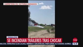 FOTO: Tráiler que transportaba autos nuevos choca y se incendia, en Tamaulipas, 27 septiembre 2019