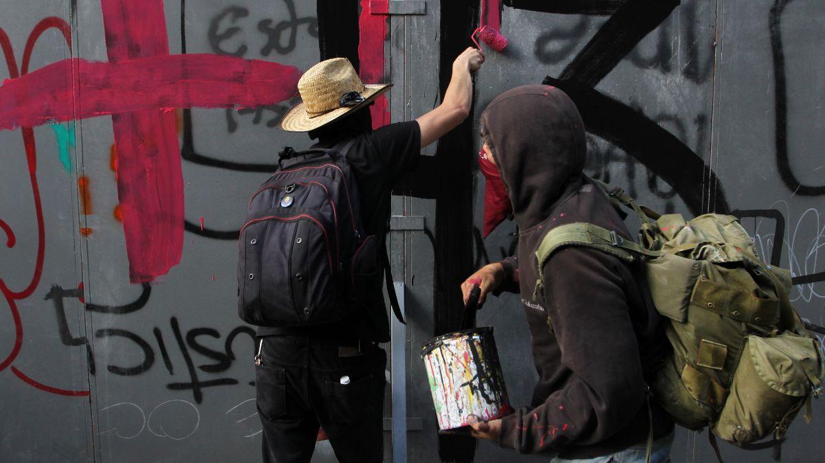 Vandalismo durante marcha