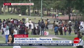 FOTO: Video Vandalizan letras UNAM colocadas Rectoría