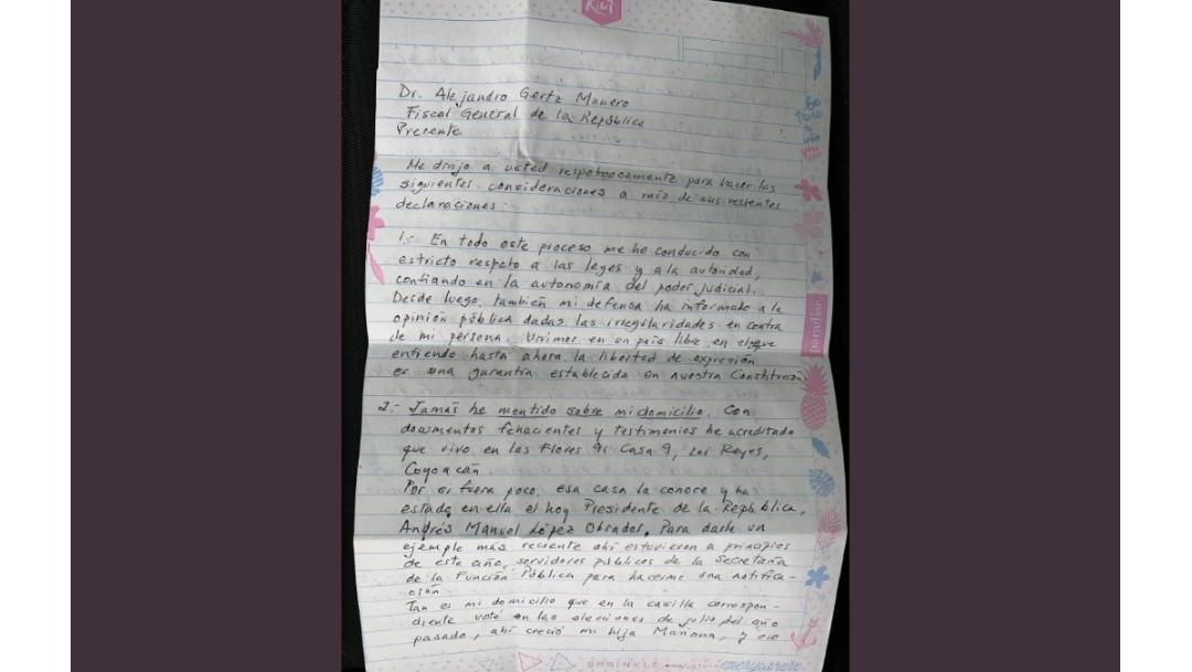 Foto: Rosario Robles envía carta al fiscal Gertz Manero