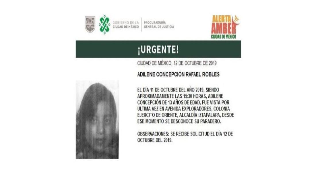 Foto Alerta Amber localizar a Adeline Concepción Rafael Robles