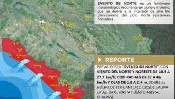 Foto: Este evento se percibirá sobre el Golfo de Tehuantepec, desde Salina Cruz, Oaxaca, hasta Puerto Arista, Chiapas, 26 de octubre de 2019 (Twitter @pcivilchiapas)