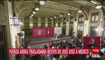 AMLO: Restos de José José serán trasladados a México en avión de la Fuerza Aérea