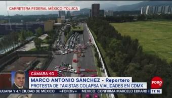 Así luce el bloqueo de taxistas en la autopista México-Toluca