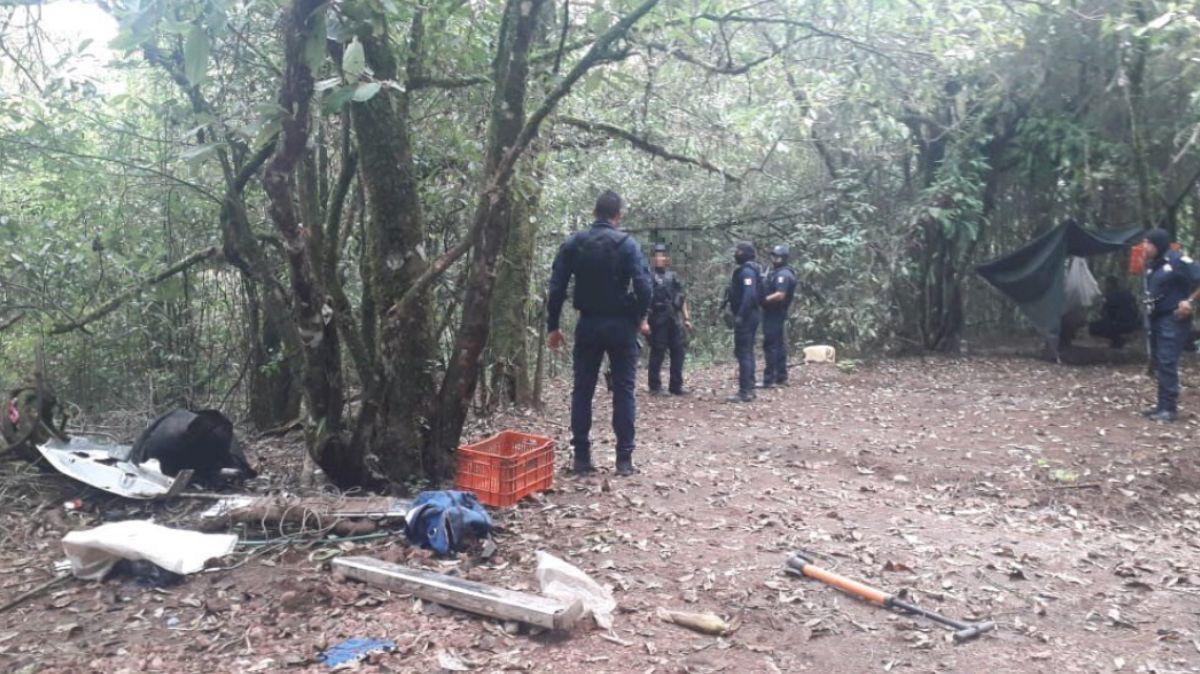 Campamento asegurado en Michoacán.