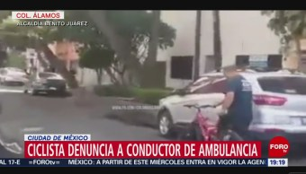 Foto: Ciclista Denuncia Conductor Ambulancia Atropella 16 Octubre 2019