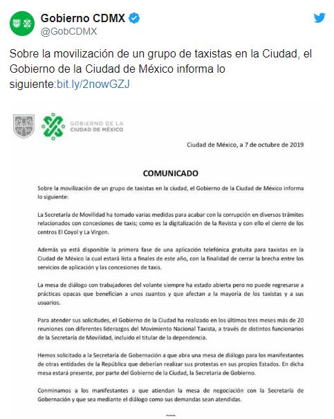 IMAGEN Comunicado del gobierno CDMX sobre marchas de taxistas (Twitter)
