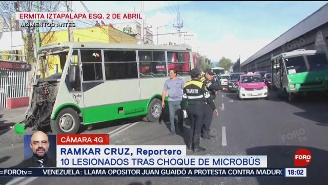 FOTO: Diez lesionados tras choque de microbús en Iztapalapa, 20 octubre 2019