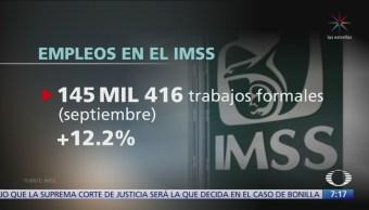 Durante septiembre se generaron 145 mil 416 empleos formales en México