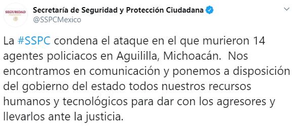 IMAGEN Emboscada a policías estatales en Aguililla, Michoacán, deja 14 muertos (Twitter @SSPCMexico)