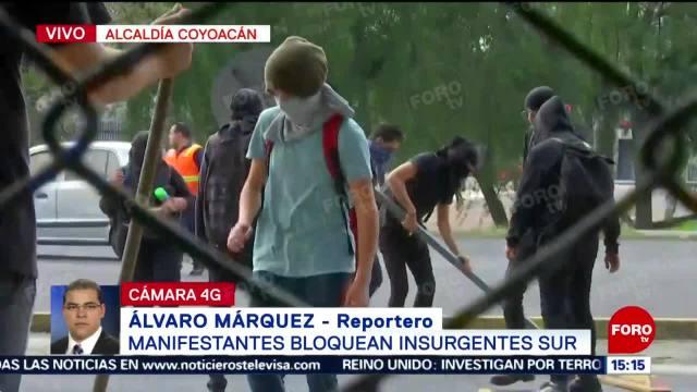 FOTO: Encapuchados Bloquean Insurgentes Sur