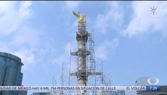 Imágenes exclusivas de la restauración en el Ángel de la Independencia, CDMX