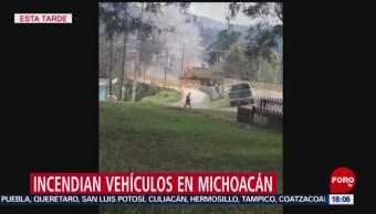 FOTO: Incendian vehículos en carreteras de Michoacán, 25 octubre 2019