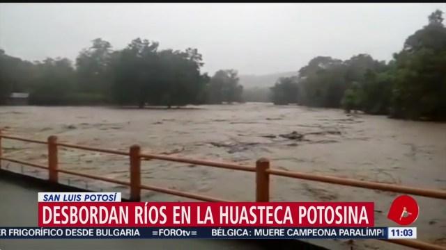 Lluvias provocan desbordamientos de ríos en la huasteca potosina