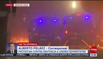 FOTO: Manifestantes enfrentaron policías por sentencia líderes separatistas España
