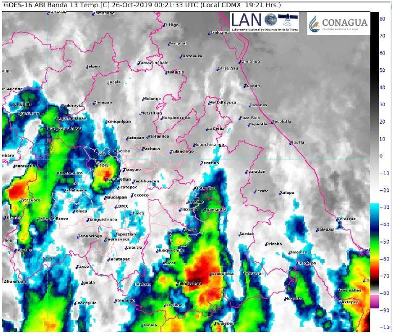 Foto: Imagen de satélite de las 19:21 horas, muestra nublados en el centro del país, 26 octubre 2019