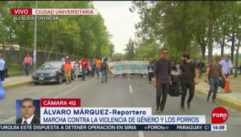FOTO: Marchan CU contra violencia género porros UNAM