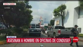 FOTO: Matan Hombre Oficinas Condusef Cuernavaca