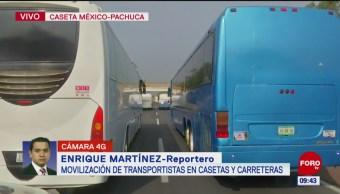 Movilización de transportistas en caseta México-Pachuca