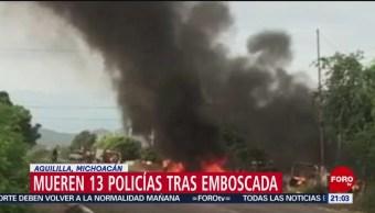 Foto: Mueren 13 Policías Emboscada Aguililla Michoacán 14 Octubre 2019