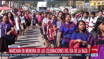 FOTO: Normalistas marchan por las celebraciones del Día de la Raza en Chiapas, 12 octubre 2019