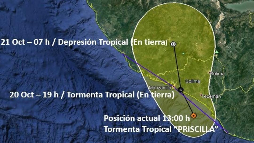 """Foto: Hace unas horas, la Coordinación Nacional de Protección Civil decretó Alerta Amarilla en la región Centro, Norte, Sur y Oeste de Colima por el acercamiento de la tormenta tropical """"Priscilla"""" 20 de octubre de 2019 (Twitter @PC_Colima)"""