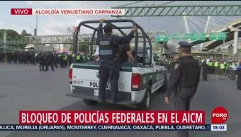 FOTO: Policías Federales Mantienen Bloqueo Aeropuerto CDMX
