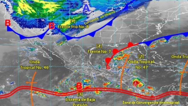 Imagen: Asimismo, se estiman vientos con rachas superiores a 50 kilómetros por hora y probabilidad de tolvaneras en zonas de Baja California, el Mar de Cortés, Sonora, Chihuahua, 28 de octubre de 2019 (Twitter @conagua_clima)