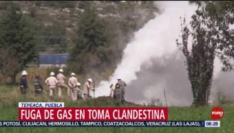 FOTO: Realizan fuego controlado en toma clandestina de gas LP en Puebla, 20 octubre 2019
