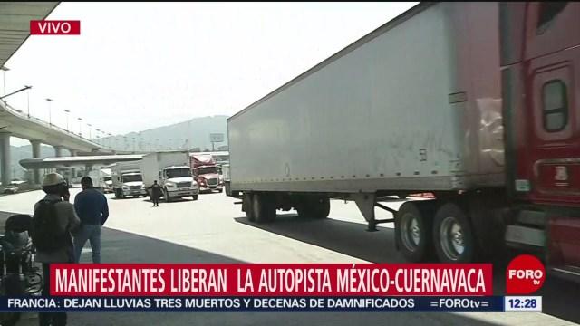 Recicladores liberan autopista México-Cuernavaca, tras bloqueo