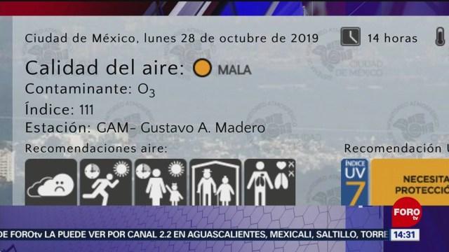 FOTO: Reporte de calidad del aire en el Valle de México, 28 octubre 2019