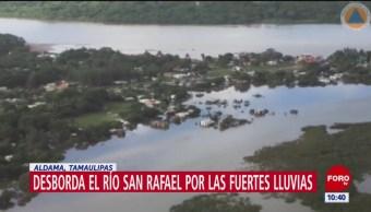 Se desborda río en Aldama, Tamaulipas, por lluvias