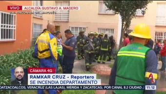 Se incendia departamento en la alcaldía Gustavo A. Madero