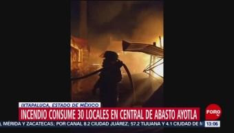 FOTO: Se incendian locales en Central de Abasto de Ixtapaluca, 13 octubre 2019