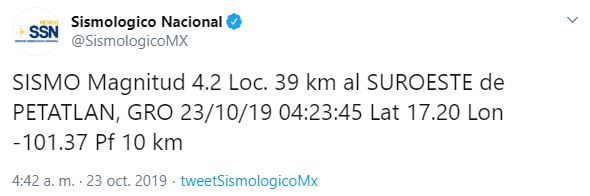 Foto Se registran tres sismos de magnitud 4.5 y 4.2 en Petatlán, Guerrero