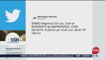 FOTO: Se reporta Sismo de magnitud 3.6 en Chiapas, 5 octubre 2019