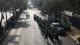 FOTO Sindicato petrolero realiza bloqueo en Marina Nacional, CDMX (S.Servín)