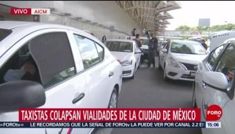 FOTO: Taxistas AICM Se Niegan Brindar Servicio Pasajeros,